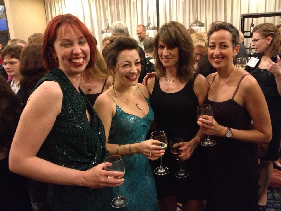 Kat, Maria, me, Sofia at the Saturday night banquet. Photo by Andy Duncan